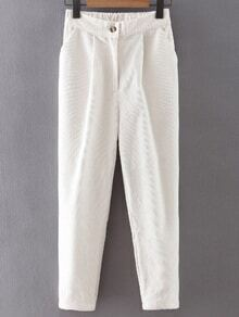 White Button Up Corduroy Haren Pants