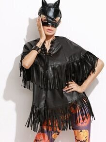 Black Lace Up Neck Fringe PU Cape Coat