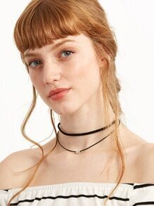 Black Double Layer Beaded Choker Necklace