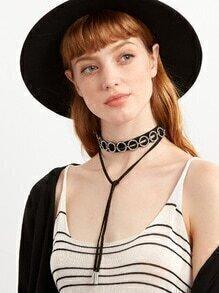 Black Layered Circle Rhinestone Wrap Choker Necklace