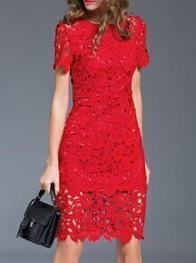 Red Crochet Hollow Out Sheath Dress