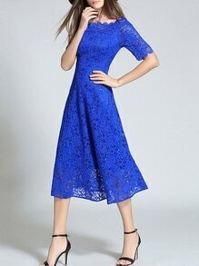 Blue Sheer Lace A-Line Dress