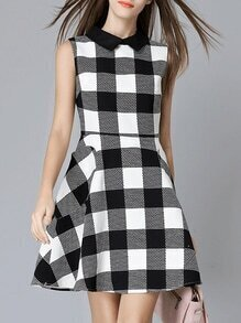 Black White Check Print A-Line Dress