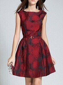 Red Crew Neck Jacquard A-Line Dress