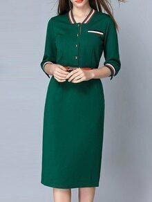 Green Striped Belted Pockets Sheath Dress
