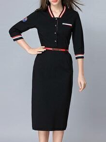 Black Striped Belted Pockets Sheath Dress