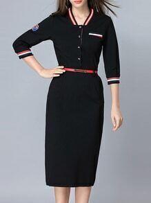 Black Striped Belted Pockets Sheath Dress