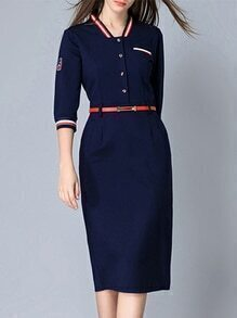 Navy Striped Belted Pockets Sheath Dress