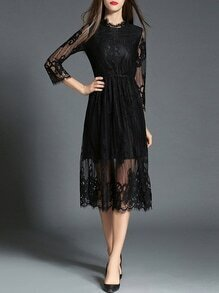 Black Sheer Gauze Embroidered Lace Dress