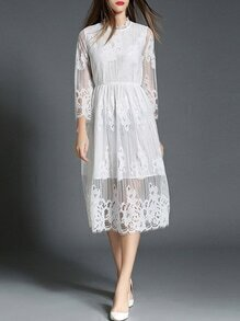 White Sheer Gauze Embroidered Lace Dress