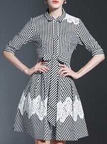 Black White Striped Lapel Bowknot Dress