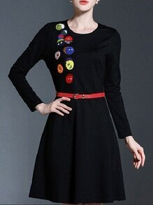Black Embroidered Belted A-Line Dress