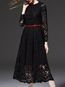 Black Embroidered A-Line Lace Dress
