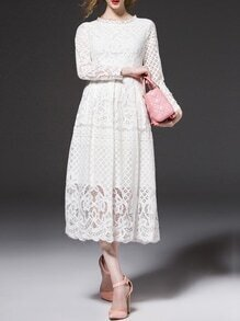 White Embroidered A-Line Lace Dress