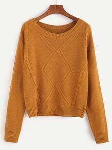 Khaki Drop Shoulder Cable Knit Sweater