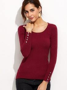 Burgundy Ribbed Button Cuff Sweater