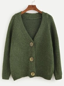 Army Green Raglan Sleeve Cardigan