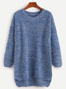 Blue Drop Shoulder High Low Sweater