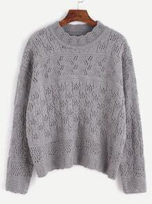 Grey Drop Shoulder Hollow Out Cable Knit Sweater