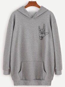 Grey Love Gesture Print Hooded Sweatshirt