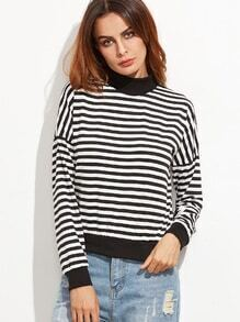 Contrast Trim Striped Drop Shoulder Sweatshirt