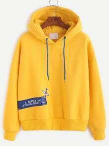 Yellow Slogan Print Drop Shoulder Hooded Sweatshirt