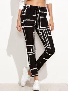 Black Geometric Print Drawstring Pants