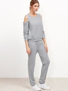 Grey Cutout Shoulder Pom Pom Trim Sweatshirt With Pants
