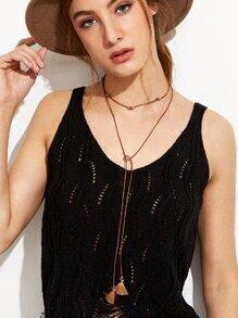 Brown Faux Leather Tassel Wrap Choker Necklace