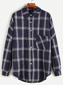 Navy Plaid Drop Shoulder High Low Pocket Shirt