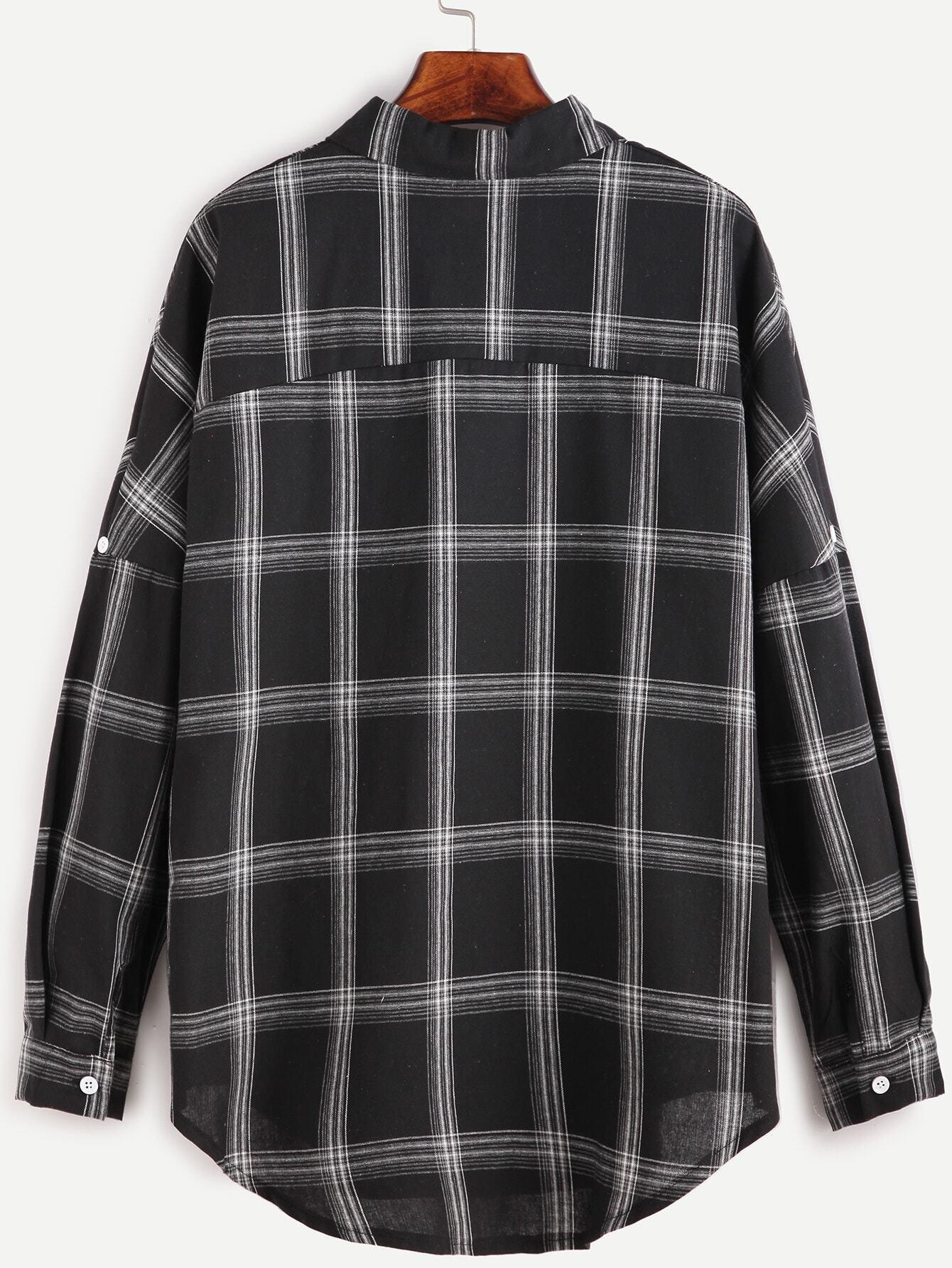 hemd mit taschen drop schulter vorne kurz hinten lang schwarz german romwe. Black Bedroom Furniture Sets. Home Design Ideas