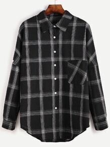 Black Plaid Drop Shoulder High Low Pocket Shirt