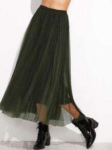 Dark Green Mesh Overlay Elastic Waist Skirt