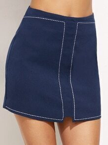 Blue Zip Bodycon Skirt With Stitch Detail