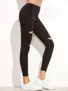 Black Ripped Pockets Stretch Leggings