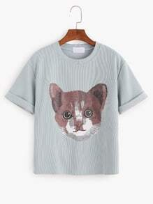 Cat Print Roll Sleeve T-shirt