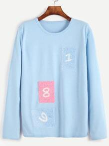 Pale Blue Number Patches T-shirt
