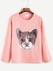 Pink Cat Print Cuffed T-shirt