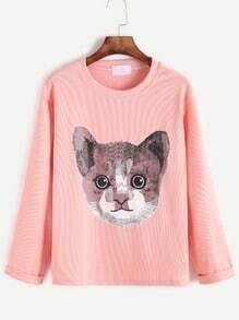 Pink Cat Print Cuffed T-shirt