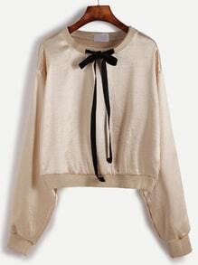 Champagne Tie Neck Crop Sweatshirt