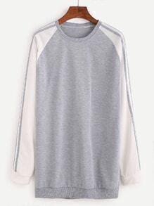 Grey Contrast Raglan Sleeve Sweatshirt