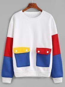 White Contrast Sleeve Sweatshirt With Pockets