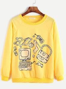 Yellow Cartoon Print Raglan Sleeve Sweatshirt