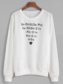 White Number Print Long Sleeve Sweatshirt