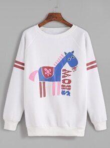 Varsity Striped Horse Print Raglan Sleeve Sweatshirt