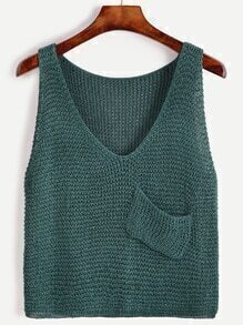 Dark Green V Neck Pocket Knit Sweater Vest