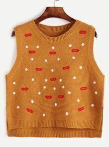 Polka Dot Embroidered High Low Slit Side Sweater Vest