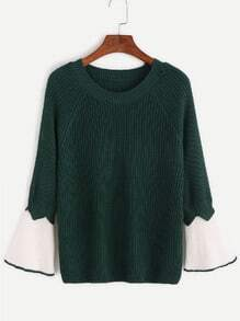 Dark Green Contrast Bell Sleeve Sweater