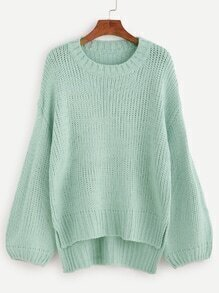 Pale Green Dip Hem Drop Shoulder Sweater