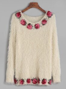 Beige Crochet Flower Trim Long Sleeve Sweater